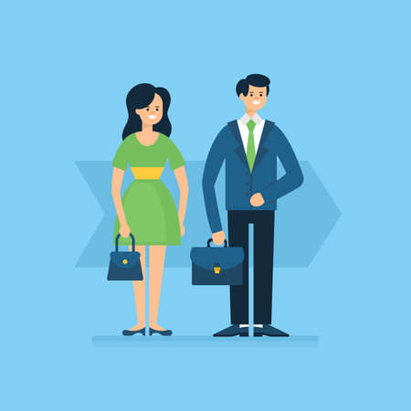 Business man and woman character design. Vector illustration
