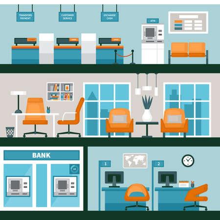 Empty bank office interior. Vector illustration Vettoriali