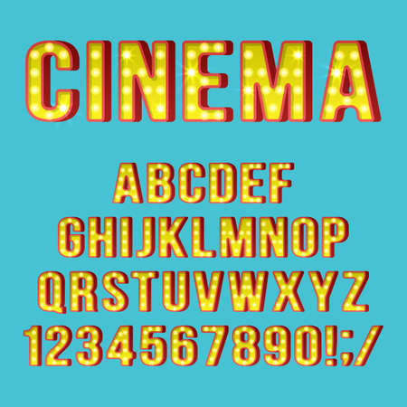 Retro light bulb alphabet letters and numbers for movie cinema sign design. Realist vector illustration