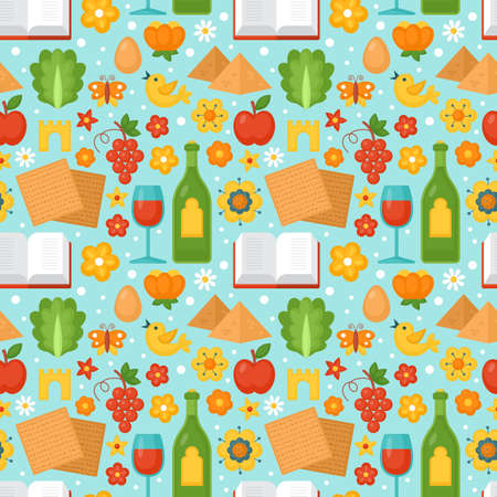 Jewish holiday Passover seamless pattern for graphic and web design. Vector illustration Vettoriali