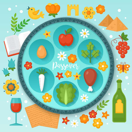 Jewish holiday Passover seder plate and traditional symbols for graphic and web design. Vector illustration