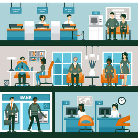 People in bank interior. Banking and consulting concept with character design. Vector illustration