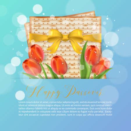 Jewish holiday passover greeting card design with matzo and tulip jewish holiday passover greeting card design with matzo and tulip flowers realistic vector illustration stock m4hsunfo