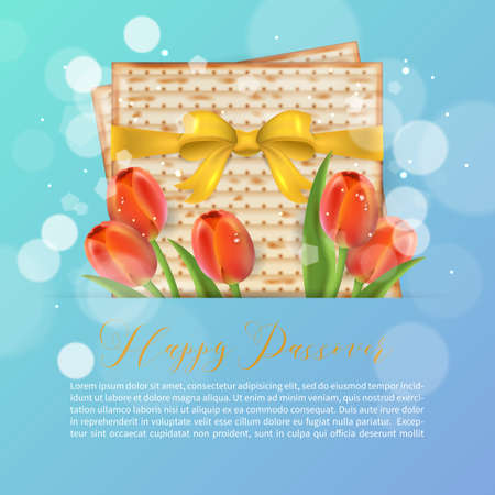 Jewish holiday Passover greeting card design with matzo and tulip flowers. Realistic vector illustration Illustration