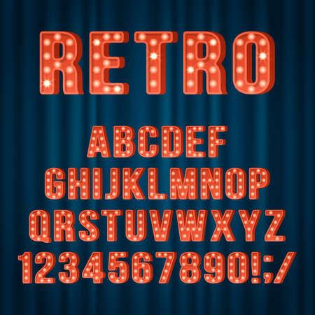 Retro light bulb alphabet letters and numbers for movie cinema or nightclub sign design. Realist vector illustration Ilustração