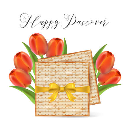 Jewish holiday Passover banner design with matzo and tulip flowers isolated on white background. Realistic vector illustration