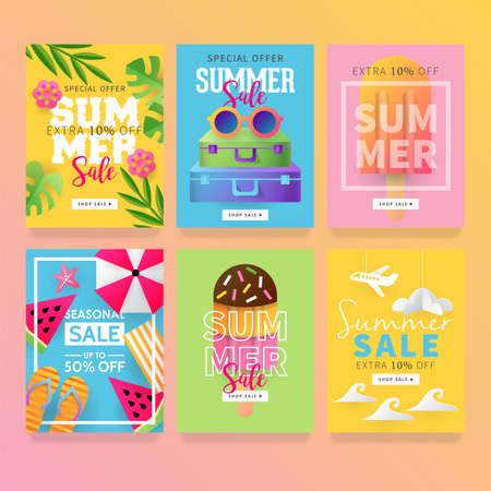 Summer sale banner template set for social media and mobile apps with paper art travel and vacation  illustration. Vettoriali