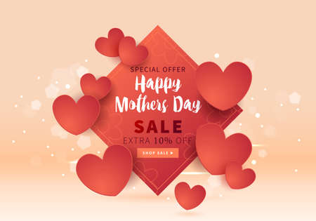 Mothers day sale banner template for social media advertising, invitation or poster design with paper art hearts background. Vector illustration