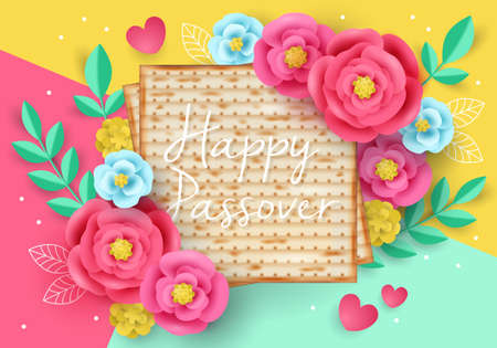Jewish holiday Passover modern banner design with matzo and paper art flowers. Realistic vector illustration Illustration