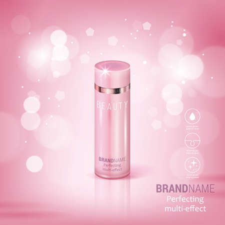 Facial treatment cream realistic illustration isolated on pink bokeh backdrop. Vettoriali