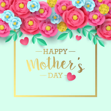 Mothers day greeting card design with abstract paper flower background Vettoriali