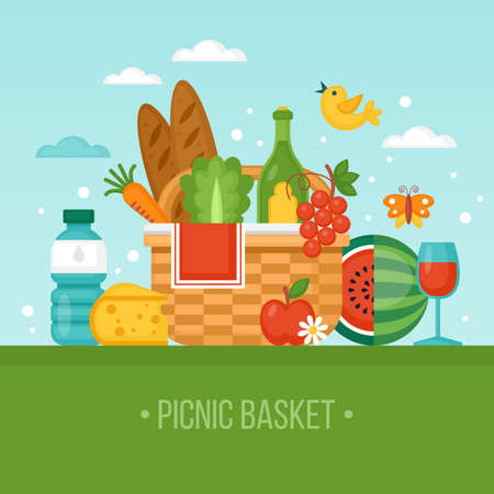 Summer picnic concept with basket, food and fruits. Vector illustration Vettoriali