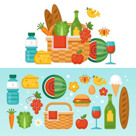 Summer picnic concept with basket, food and fruits. Vector illustration Illustration