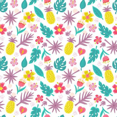 Seamless pattern with hand drawn summer tropical leaves and flowers. Can be used for wrapping paper, wedding invitation, wallpaper and textile design. Vector illustration