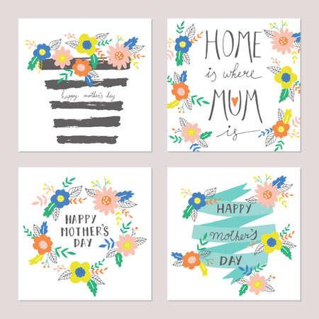 Mothers day greeting card set  with hand drawn cute flowers. Isolated vector illustration