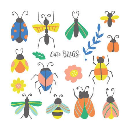 Mano disegnati carino bug e coleotteri impostato. Può essere utilizzato per gli adesivi, i perni e il design delle patch di moda. Illustrazione vettoriale