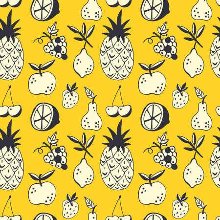 Seamless pattern with hand drawn summer fruits. Can be used for wrapping paper, wedding invitation, wallpaper and textile design. Vector illustration  イラスト・ベクター素材
