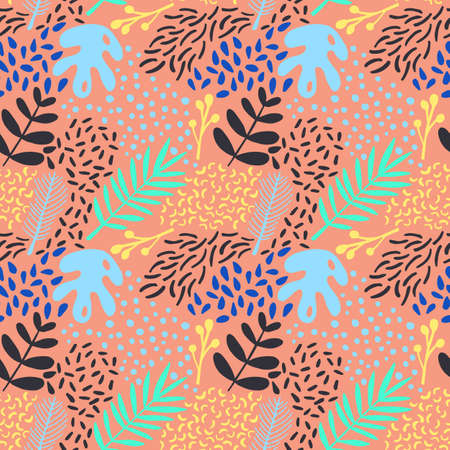 Seamless pattern with hand drawn summer tropical leaves. Can be used for wrapping paper, wedding invitation, wallpaper and textile design. Vector illustration