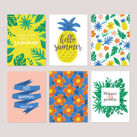 Summer holiday vacation  greeting card set with hand drawn cute tropical flowers, palm tree leaves and pineapple. Isolated vector illustration Vettoriali