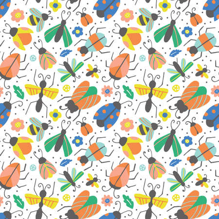 Seamless pattern with hand drawn cute bugs and beetles. Can be used for wrapping paper, wallpaper and textile design. Vector illustration Vettoriali