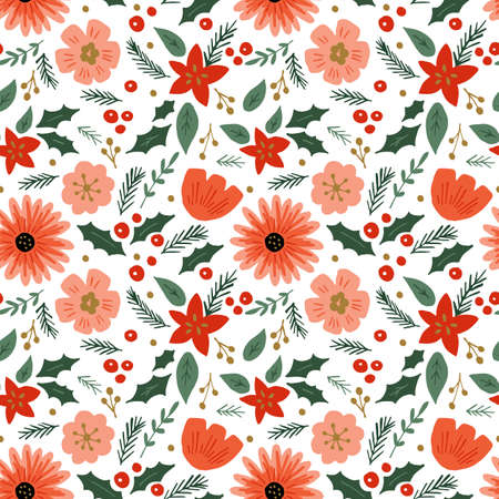 Seamless pattern with hand drawn flowers and leaves. Can be used for wrapping paper, wedding invitation, wallpaper and textile design. Vector illustration