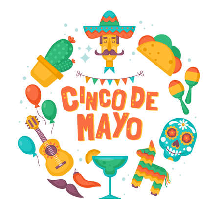 Cinco de Mayo Mexican Holiday banner, poster, party invitation and greeting card design