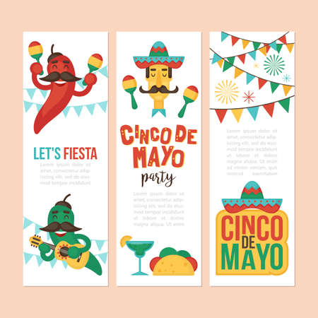 Cinco de Mayo Mexican Holiday banner, poster, party invitation and greeting card design set