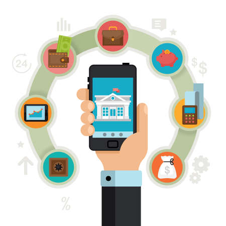Concetto di mobile banking. Operazioni finanziarie, pagamenti, carte di credito, portafoglio e denaro contante. Illustrazione vettoriale di stile piatto