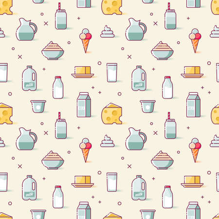 Milk and dairy products thin line icons seamless pattern design. Isolated vector illustration Vettoriali
