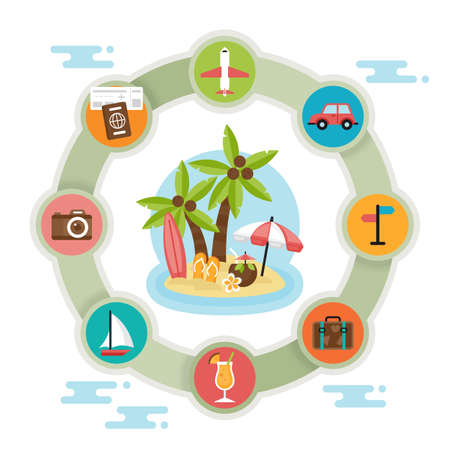 Summer holiday tropical beach vacation concept. Icons and elements for graphics, website and infographics design. Isolated vector illustration