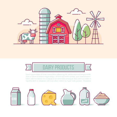 Farm banner design. Milk and dairy products icons for web and graphic design. Isolated vector illustration