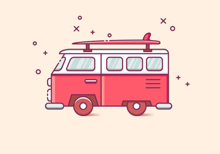 Vintage car with surfing board thin line icon. Summer adventure vacation concept. Isolated vector illustration Vettoriali