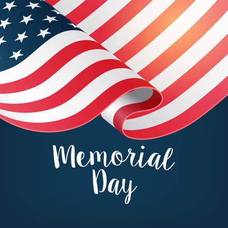 Memorial day banner design with lettering and USA flag. Vector illustration Vettoriali