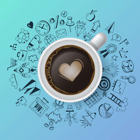 Creativity concept with realistic coffee cup and hand drawing icons. Flat lay style Vettoriali