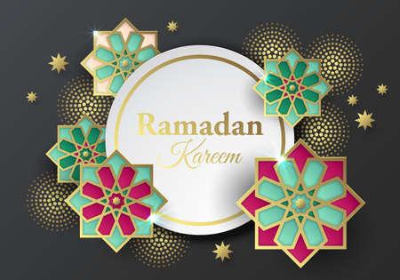 Islamic geometrical paper ornaments abstract background. Ramadan Kareem banner design