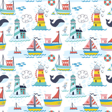 Summer holiday vacation seamless pattern with hand drawn cute boat, lighthouse and whale. Isolated vector illustration Vettoriali