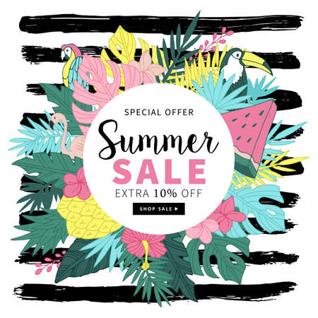 Tropical summer banner design. Background with hand drawing vector elements Vettoriali