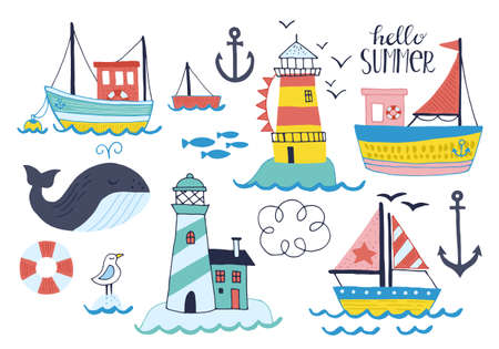 Summer holiday vacation set of stickers, patches and badges with hand drawn cute boat, lighthouse and whale. Isolated vector illustration