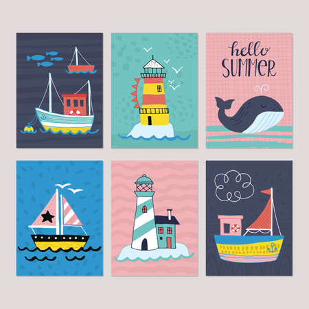 Summer holiday vacation  greeting card set with hand drawn cute boat, lighthouse and whale. Isolated vector illustration Vettoriali