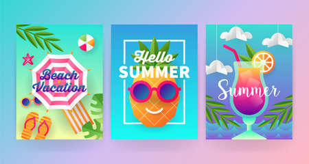 Summer banner template set with paper art travel and vacation background. Vector illustration