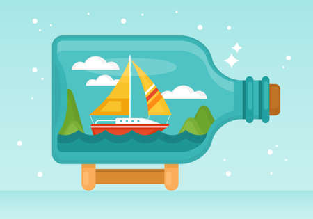 Boat in bottle flat style vector illustration. Summer vacation concept