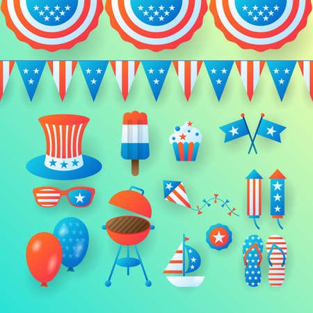 4th of July, Independence Day of the United States, banner design. Vector illustration Vettoriali