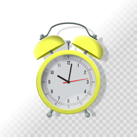lay: Alarm clock with transparent shadow. Realistic vector illustration. Time dead line business concept