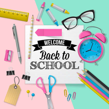 lay: Back to school banner design with lettering, school supplies and paper note. Flat lay style