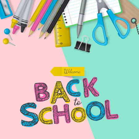 Back to school banner design with lettering and school supplies. Flat lay style Illustration