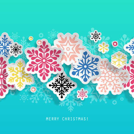 vecor: Christmas abstract background with paper cut snowflakes seamless border. Vecor illustration