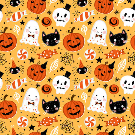 Halloween holiday seamless pattern background with hand drawing elements - pumpkin, ghost, cat and skull. Vector illustration
