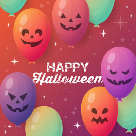 Halloween holiday banner design with jack o lantern balloons background. Vector illustration