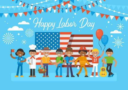 幸せな労働者の日バナー デザイン多様な労働者とアメリカ国旗のグループ。