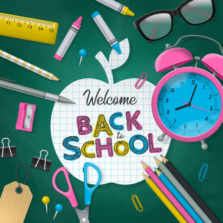 lay: Back to school banner design.